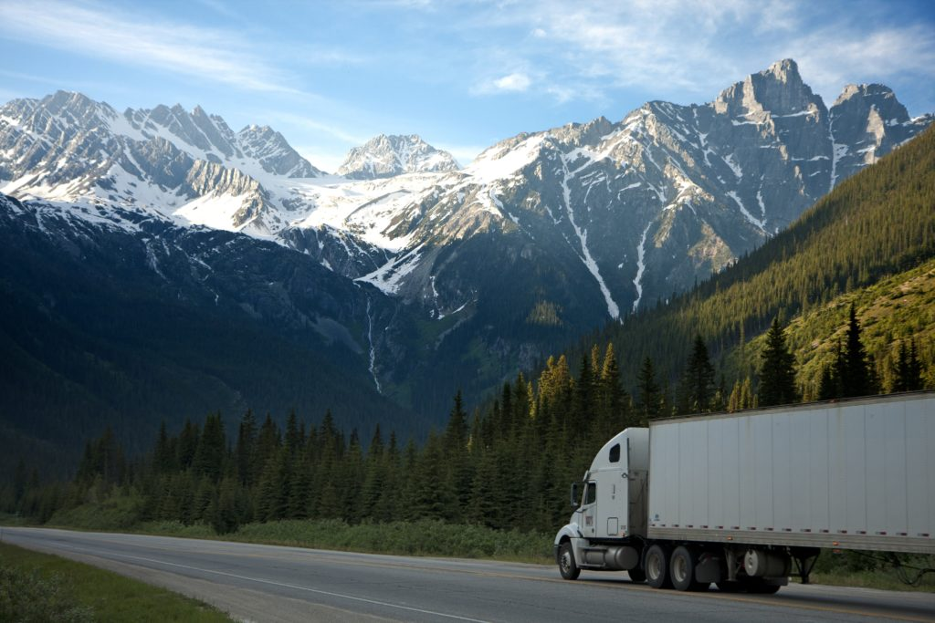 enclosed trailer truck on highway